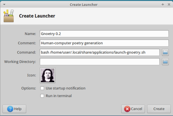 A filled out Create Custom Launcher window.